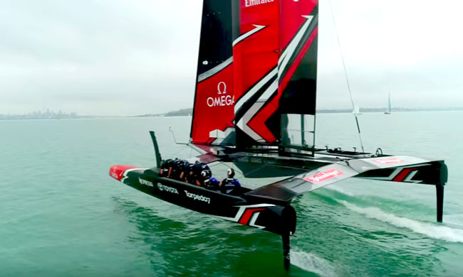 New Zeland Sailing Team in the water