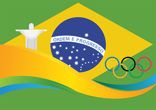 Brazilian and Olympic Flags